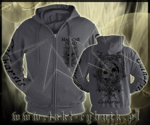 "Bluza na zamek MACHINE HEAD ""Clock"" GREY imp. ALL PRINT"