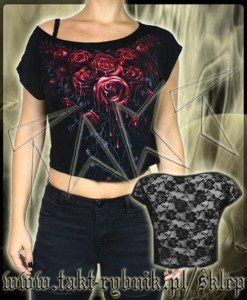 Bluzka damska BLOOD ROSE crop top imp.