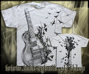 Koszulka GUITAR GIBSON CROWS all print GREY